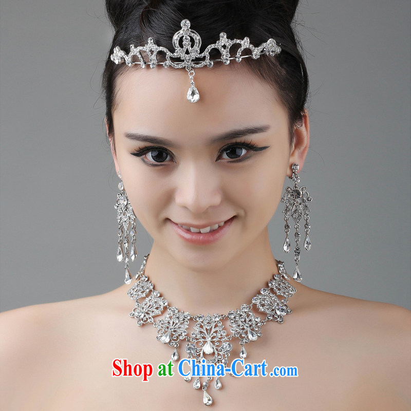 2015 new bridal jewelry package Crown necklace earrings wedding dresses with