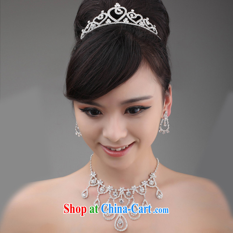 2015 new bridal jewelry package Crown necklace earrings wedding dresses accessories