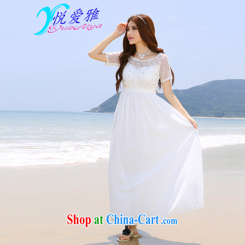 Yue love Ya 2015 summer beach dress wedding nails Pearl inserts drill dress long dress DR 90,022 white XL