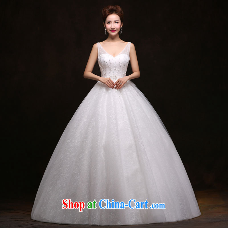The china yarn 2015 new lace half-and-collar V Princess shaggy dress bridal graphics thin large code wedding dresses white. size does not accept return