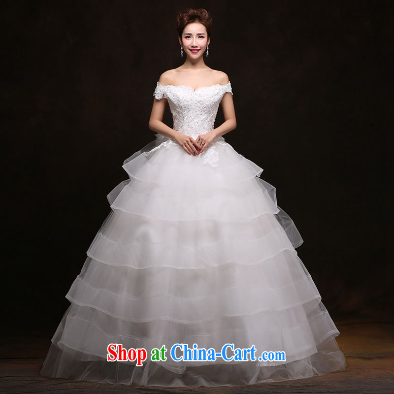 The china yarn wedding dresses and stylish new 2015 Korean version graphics thin with bridal wedding a shoulder Princess canopy white. size does not accept return