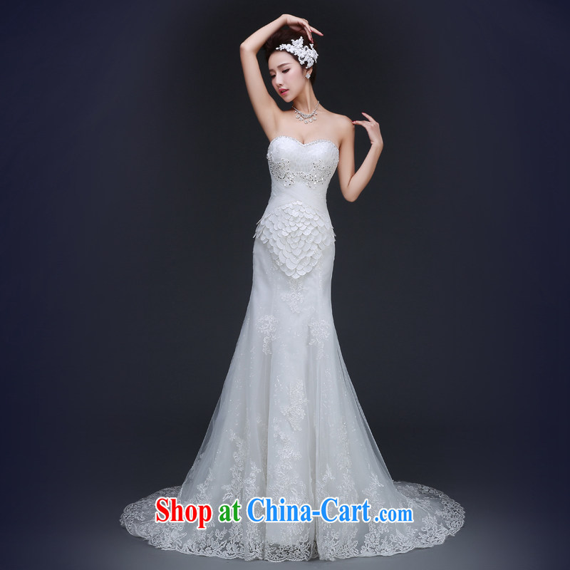Jie MIA 2015 spring Korean-style wedding dresses 2014 winter New Field in cuff lace water drilling A field trailing white XXL