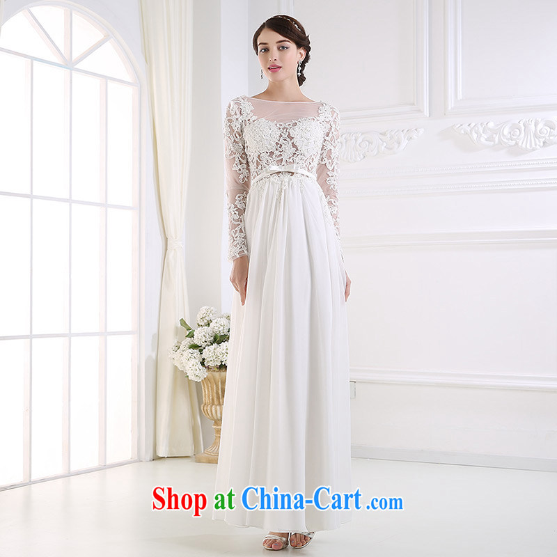 DressilyMe custom wedding - 2015 fluoroscopy lace snow has been woven and long-sleeved back exposed wedding slim summer sexy bridal dress White - out of stock 25 Day Shipping XL