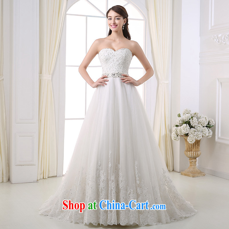 DressilyMe custom wedding - 2015 lace bare chest parquet drill belt shaggy Princess wedding beauty zipper tail luxury bridal gown White - out of stock 25 Day Shipping XL