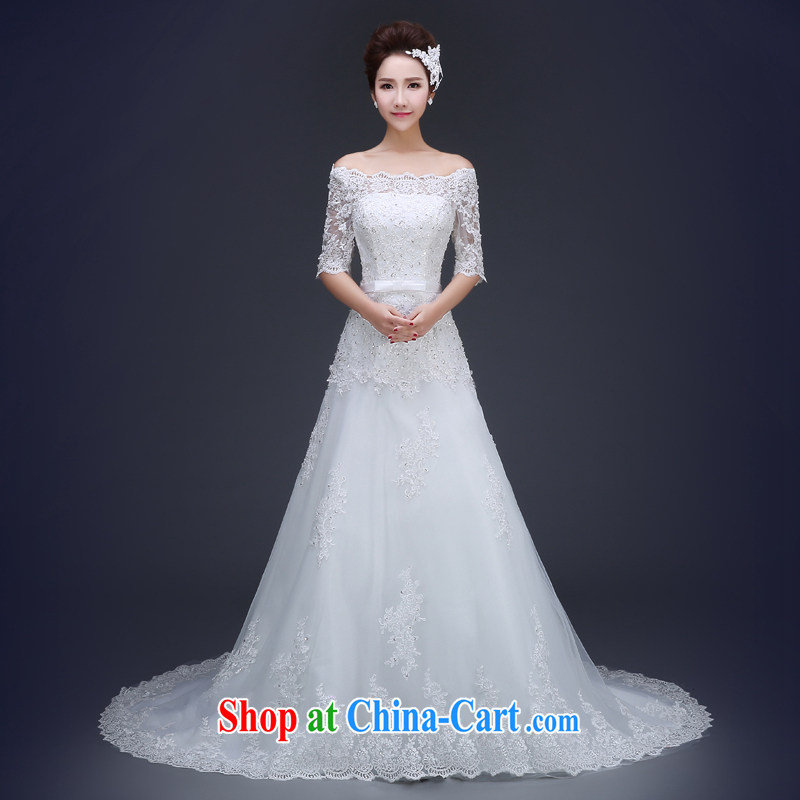 Jie MIA 2015 spring and summer new wedding dresses simple and stylish one shoulder tail marriages Korean version the code with white L