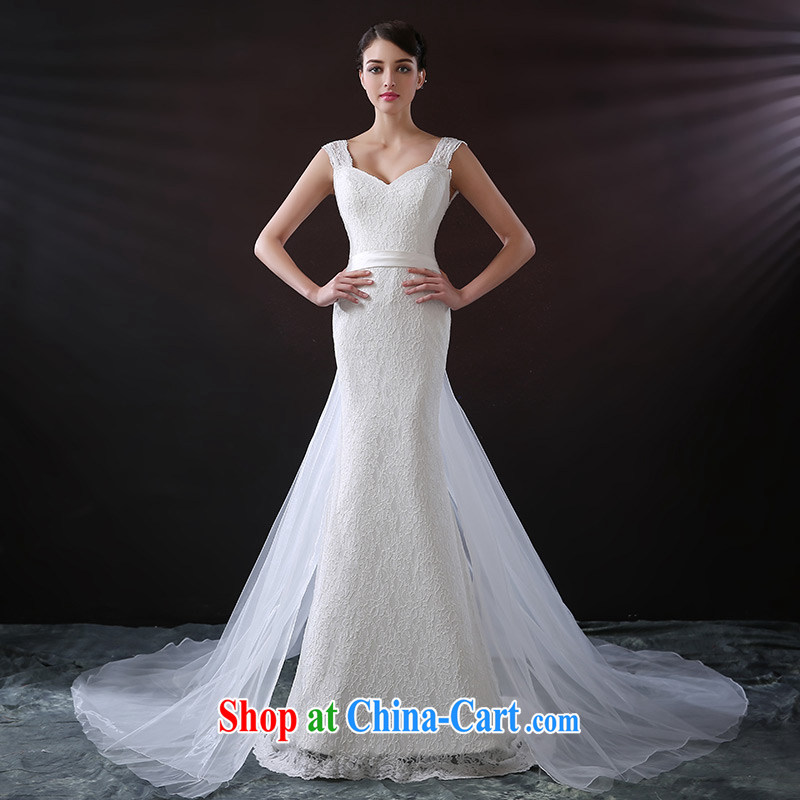 DressilyMe custom wedding dresses - spring and summer straps lace beauty crowsfoot wedding tight zipper removable light yarn tail zipper bridal gown ivory - out of stock 25 Day Shipping XL
