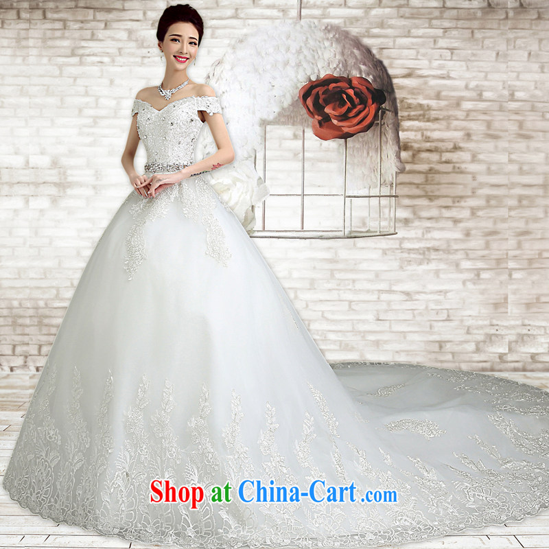 According to T-shirt according to the wedding dresses 2015 spring and summer new white tie-off chest wedding Korean minimalist with graphics thin marriages wedding tails, XXL
