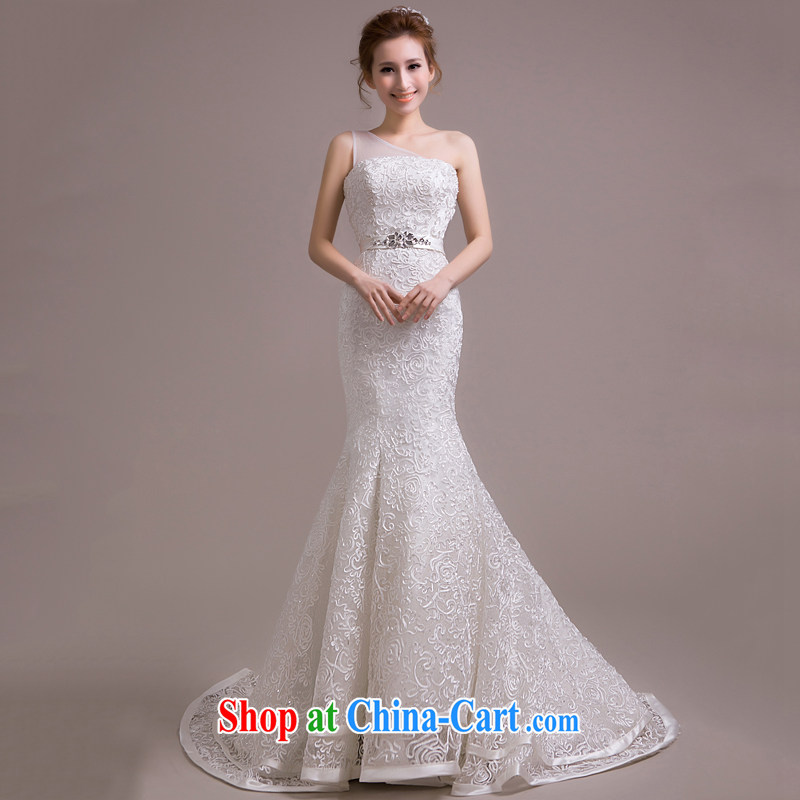 2015 new stylish wedding dresses Korean minimalist single shoulder-waist crowsfoot graphics thin lace-tail tied with antique white XL