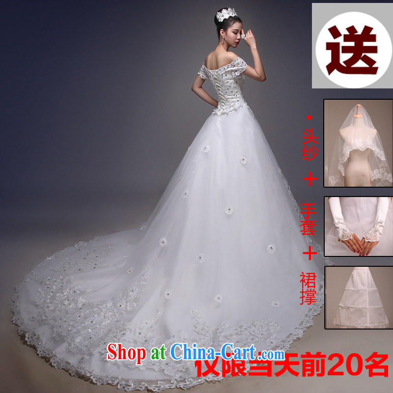 Blooming crazy bridal wedding dresses the Field shoulder new 2015 spring and summer Korean video thin with tail lace drill field shoulder tail XL