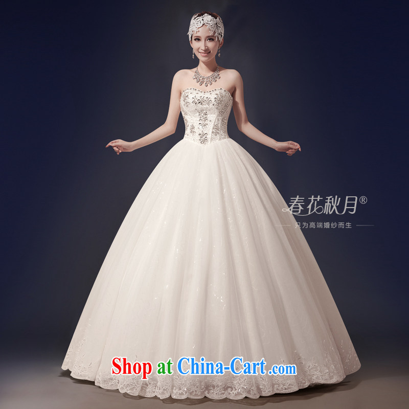 bare chest wedding dresses upscale bridal new 2015 Korean version with graphics thin beauty spring larger antique wood drill white XXL