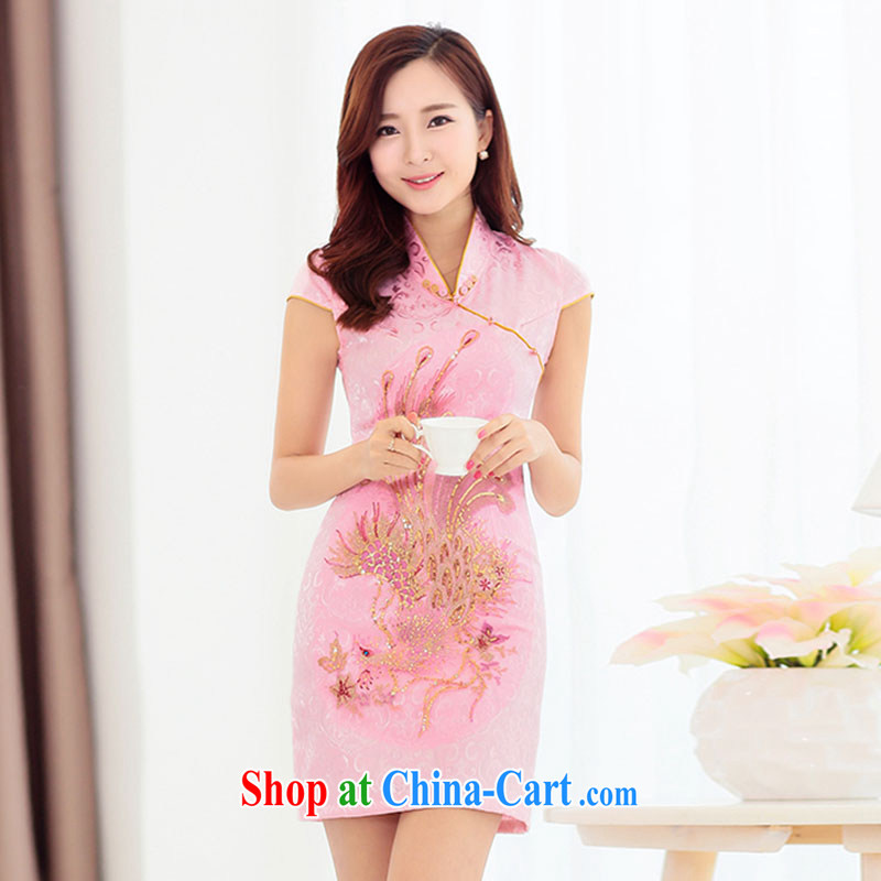 The Timorese Connie 2015 spring and summer NEW GRAPHICS thin embroidered hot drill cultivating cheongsam dress bridal toast the doors pink XXL