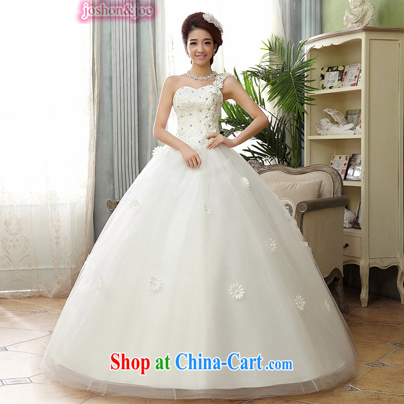 Wedding new petal with Korean-style bare chest wedding dresses the shoulder the shoulder sweet Princess large, pregnant women can be seen wearing a white XXXL