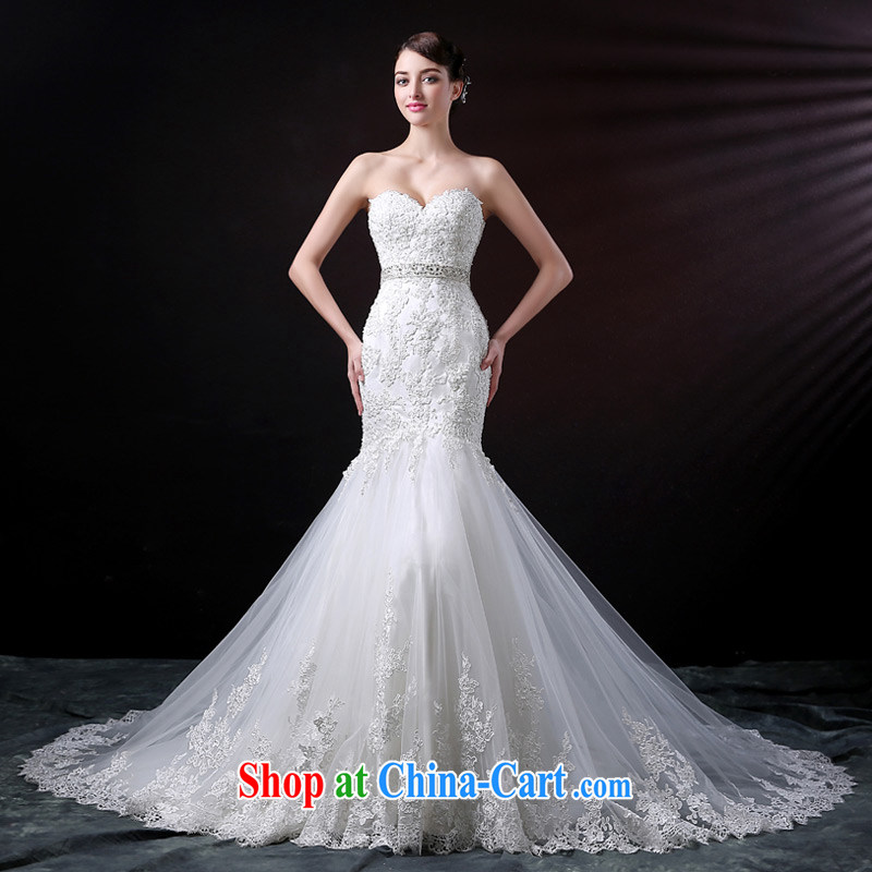 DressilyMe custom wedding - 2015 new erase chest parquet drill lace crowsfoot, Japan, and South Korea wedding dress lace-the-tail bridal wedding dresses ivory - out of stock 25 day shipping XL