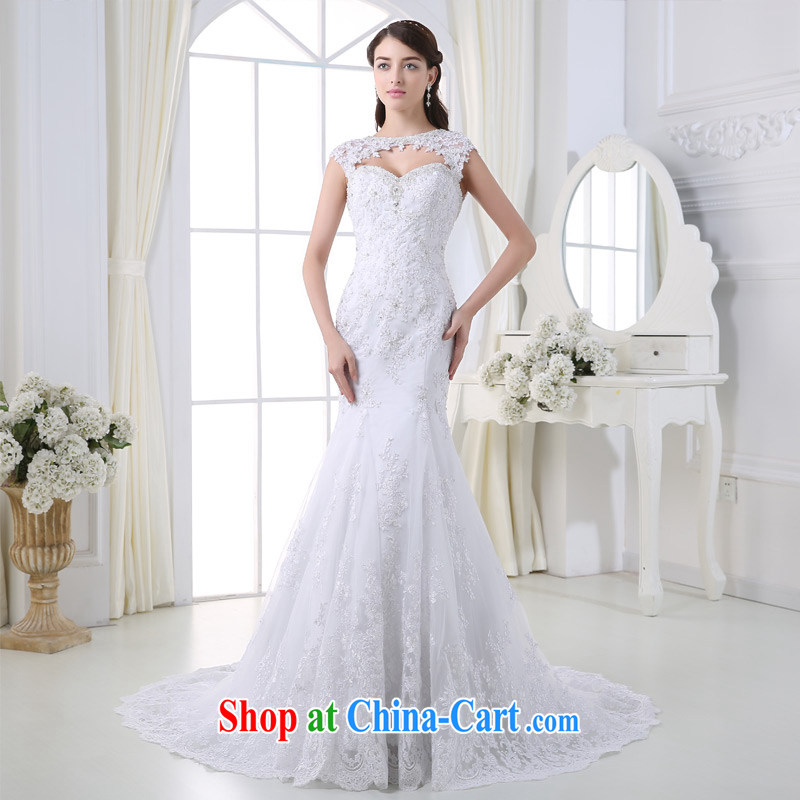 DressilyMe custom wedding - 2015 activities off Cape chest lace inserts drill crowsfoot wedding luxury zipper back exposed tail bridal gown ivory - out of stock 25 day shipping XL