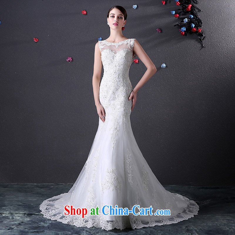 DressilyMe custom wedding - 2015 elegant field collar lace inserts drill crowsfoot wedding V field back zipper luxury tail bridal gown White - out of stock 25 Day Shipping XL