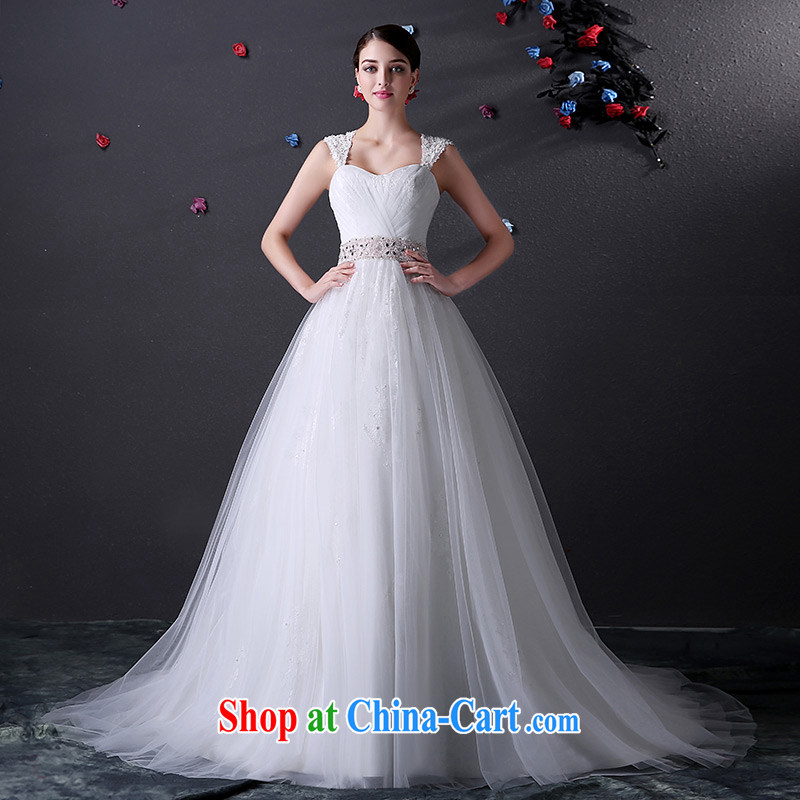 DressilyMe custom wedding - 2015 activities with shoulder chest bare wood drill bow-tie belt shaggy dress wedding zipper back exposed bridal gown White - out of stock 25 day shipping XL