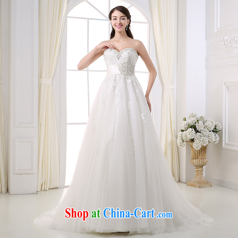 DressilyMe custom wedding - 2015 parquet drill wiped chest high waist shaggy dress wedding beauty zip embroidery lace trailing bridal gown White - out of stock 25 Day Shipping XL
