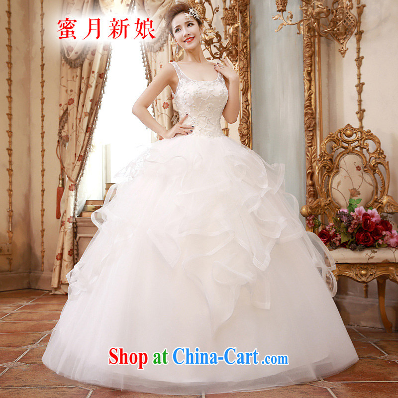 Honeymoon bridal 2015 spring female inserts drill Pearl lace Princess-waist graphics thin with shoulders wedding white XL