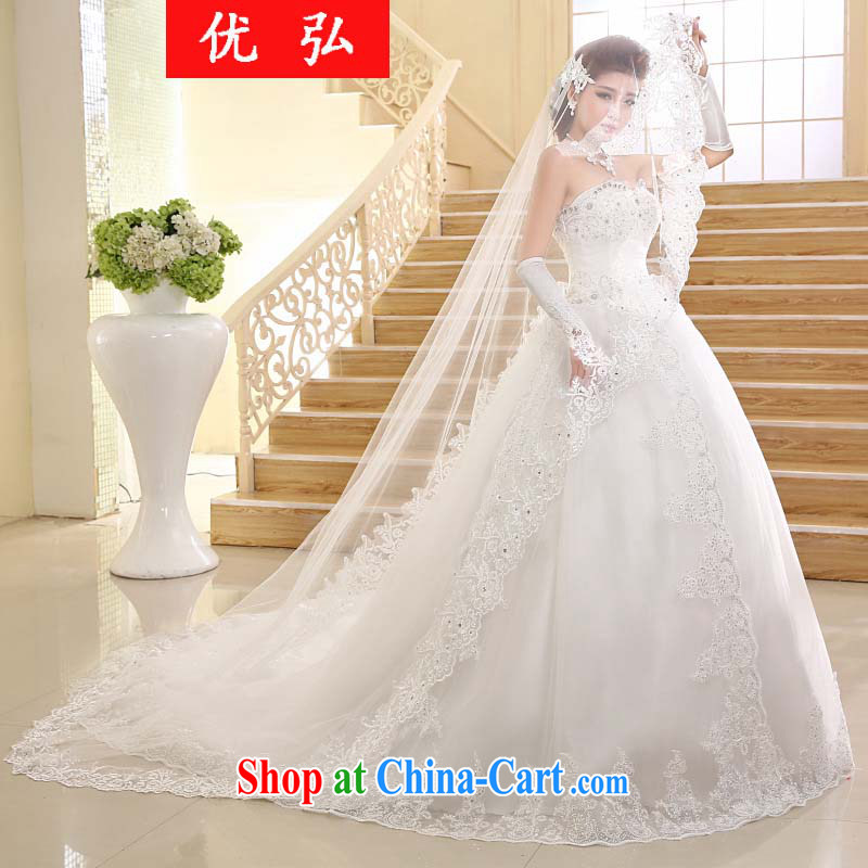 Optimize video 2015 new Korean long-tail erase chest lace tail wedding HS 001 XXL