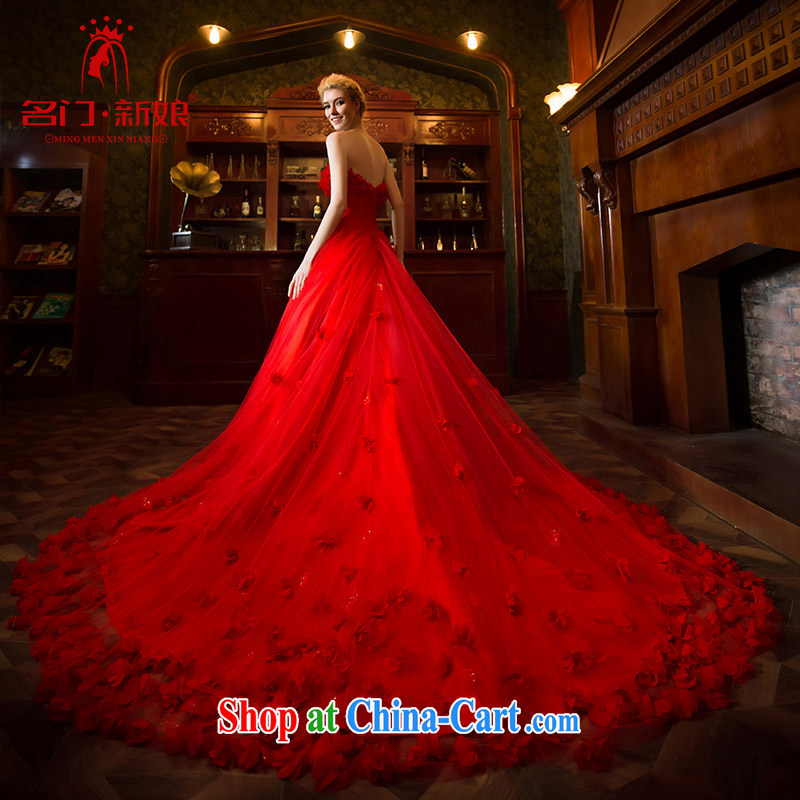 The bride's wedding dresses spring 2015 red wedding dream petals large tail 2548 red made 25 day shipping