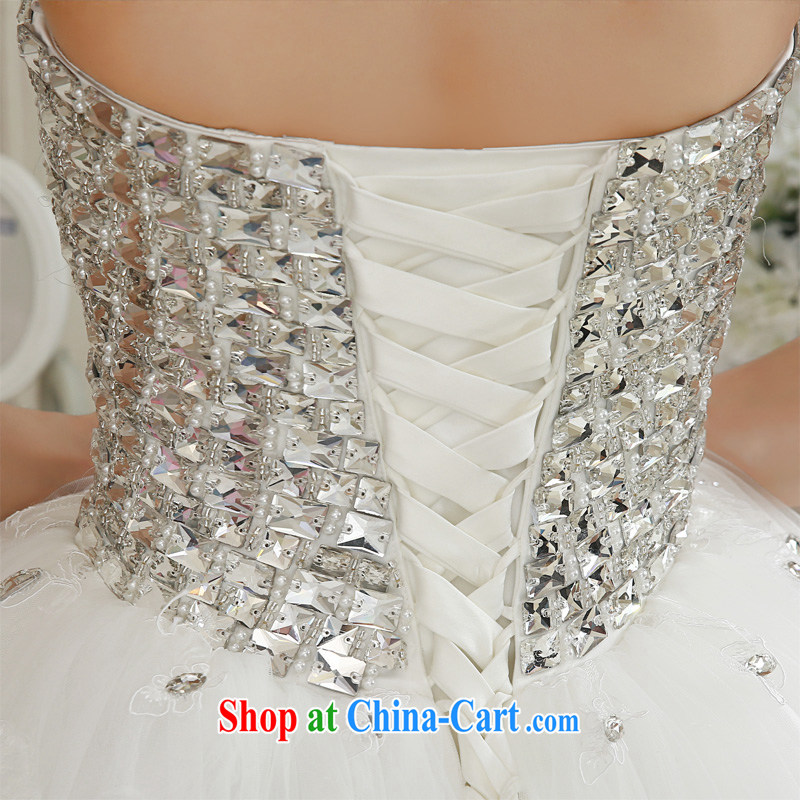 Honeymoon bride spring 2015 new female inserts drill video thin smears chest wedding dresses with white Princess XL, Honeymoon bridal, shopping on the Internet