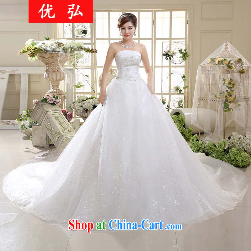 Optimize Hong 2015 stylish new white bridal wedding dresses women luxurious tail erase chest HS 003 XXL