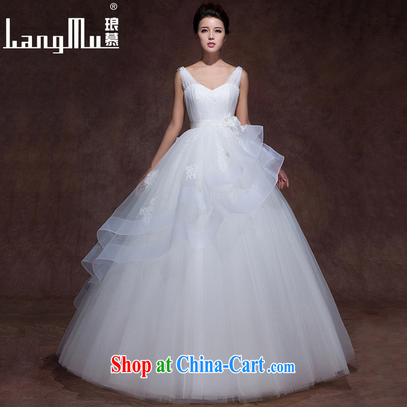 Luang Prabang in 2015 wedding dresses V collar elegant simplicity lace flowers tied with shaggy with winter clothes, winter wedding white with, advanced customization