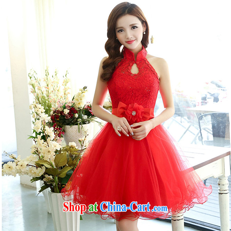 Xin poetry Joyinn 2015 spring and summer dress new Korean Wedding Video thin beauty simple yet elegant luxurious and elegant hanging also stylish shaggy dress handmade yarn red XL