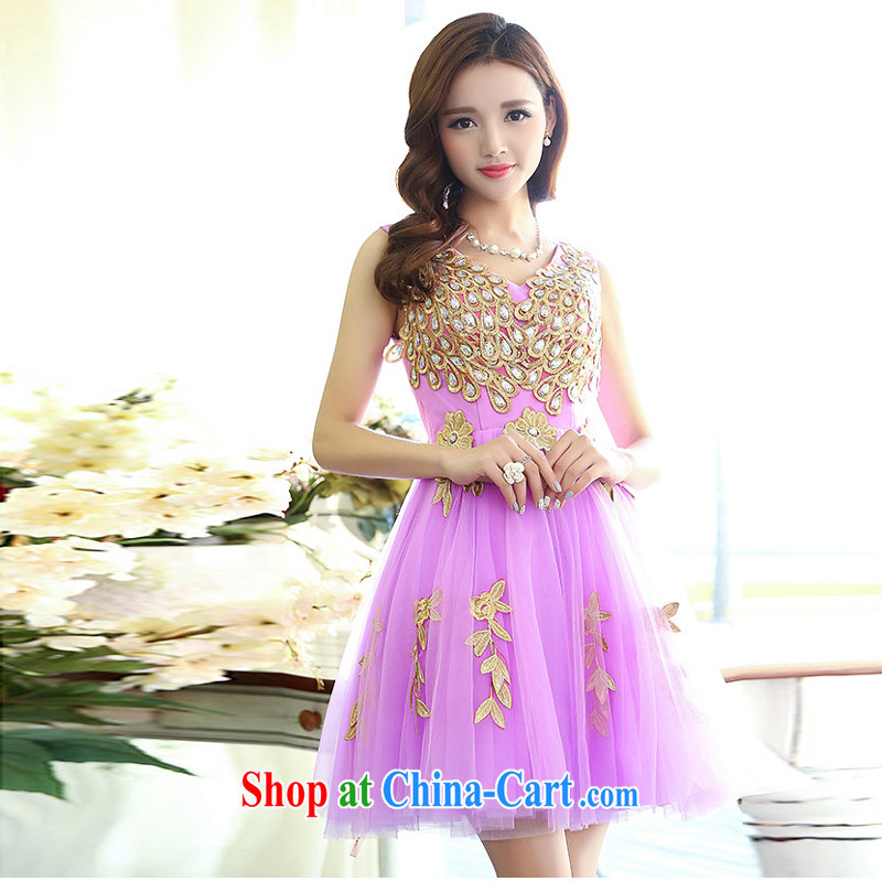 Xin poetry Joyinn 2015 spring and summer female Korean Wedding Video thin beauty simple yet elegant luxurious and elegant Peacock patterns and stylish shaggy the evening dress handmade yarn purple XL