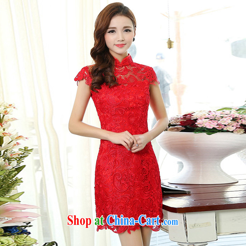 Xin poetry Joyinn 2015 spring and summer dress wedding dress XL manual embroidery marriages retro beauty-waist red lace package and sleeveless red XXXL