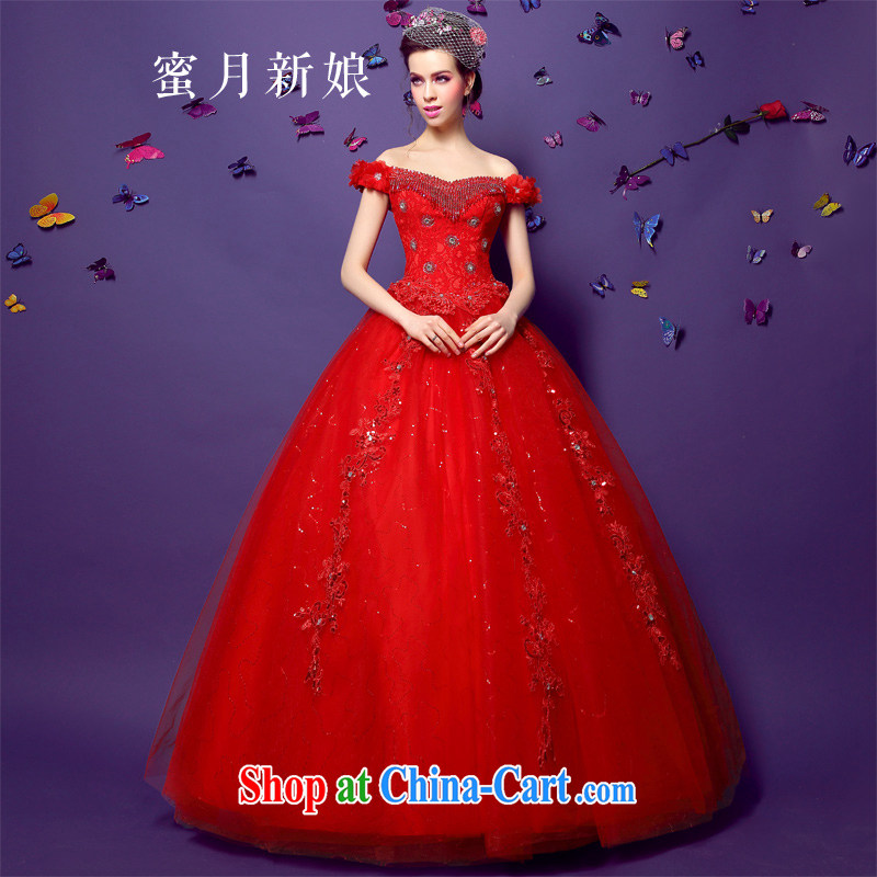 Honeymoon bride spring 2015 new female feel a field shoulder-su parquet drill lace with shaggy red wedding red XL