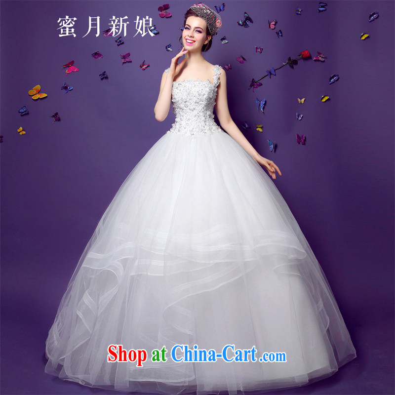 Honeymoon bride spring 2015 new female-waist graphics thin shoulders lace wedding marriage bridal wedding white XL