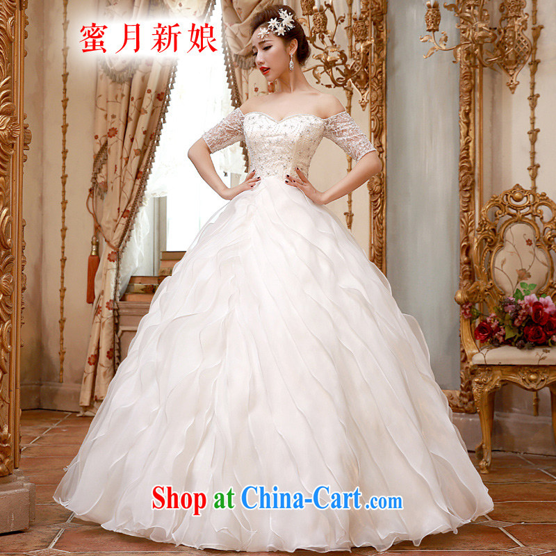 Honeymoon bride spring 2015 New Field shoulder sexy V Wipe for chest graphics thin wood drill waves with wedding white XL