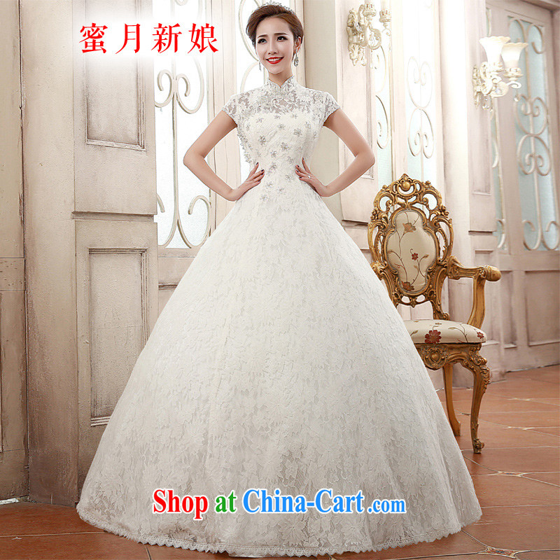 Honeymoon bridal 2015 spring female elegant sepia, for package inserts shoulder drill lace with marriage wedding white XL