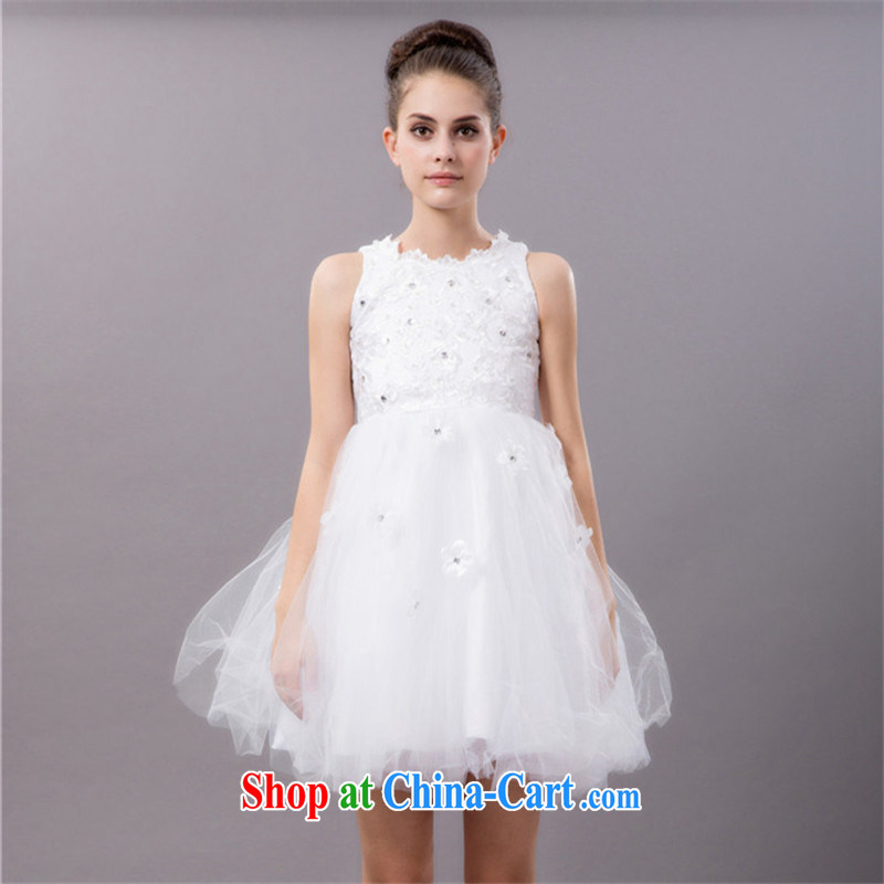 Han Park _cchappiness_ 2015 spring new small dress bridesmaid short Princess shaggy evening dress wedding show white L