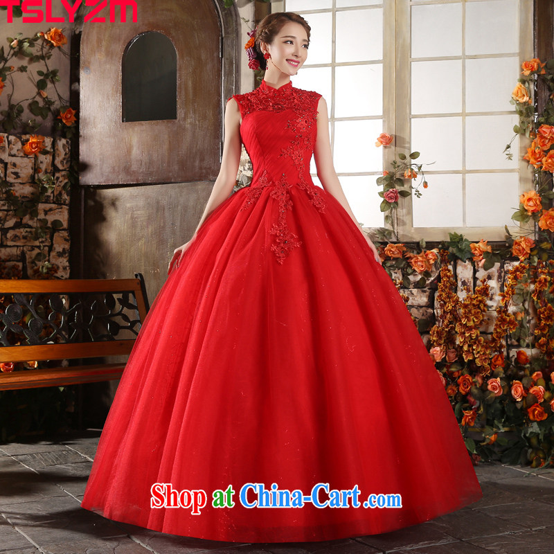 Tslyzm red, for wedding dresses 2015 new spring and summer terrace water drilling petals, the wind Princess shaggy dress red XL