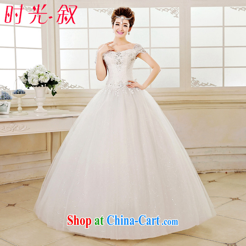 Time describes the field shoulder wedding dresses new 2015 spring and summer Korean fashion bridal graphics thin strap shoulders with wedding white XXL