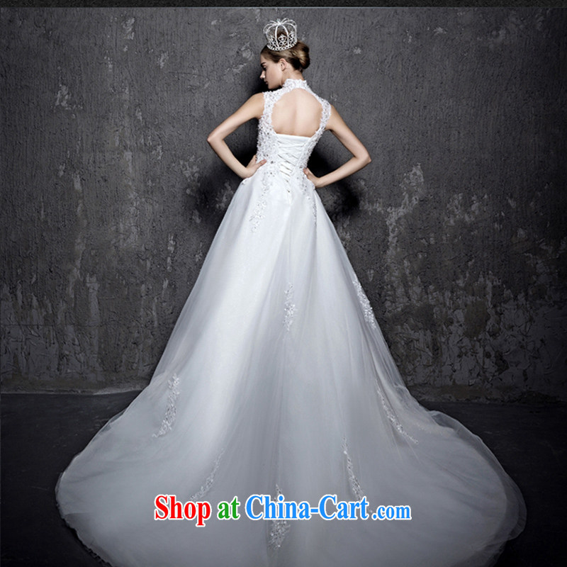 2015 new long-tail wedding Korean video thin a field in shoulder waist straps large code custom bridal wedding dress white tail XL