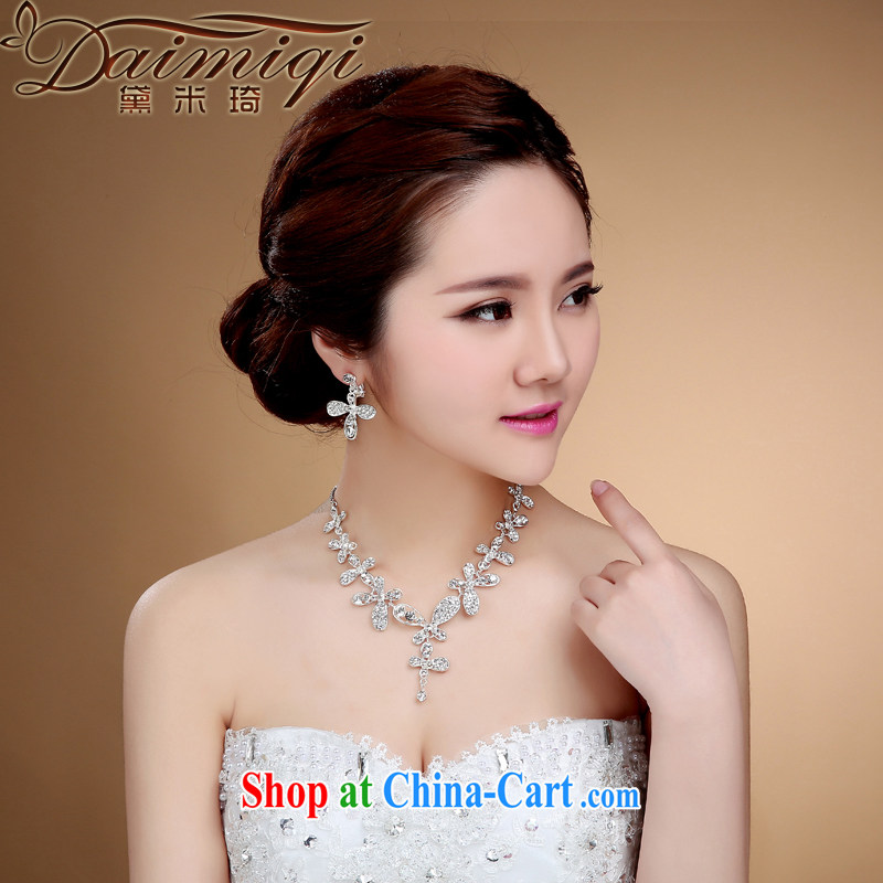 Diane M-kay 2015 new jewelry Korean bridal necklace earrings set water drilling wedding dresses accessories and jewelry white