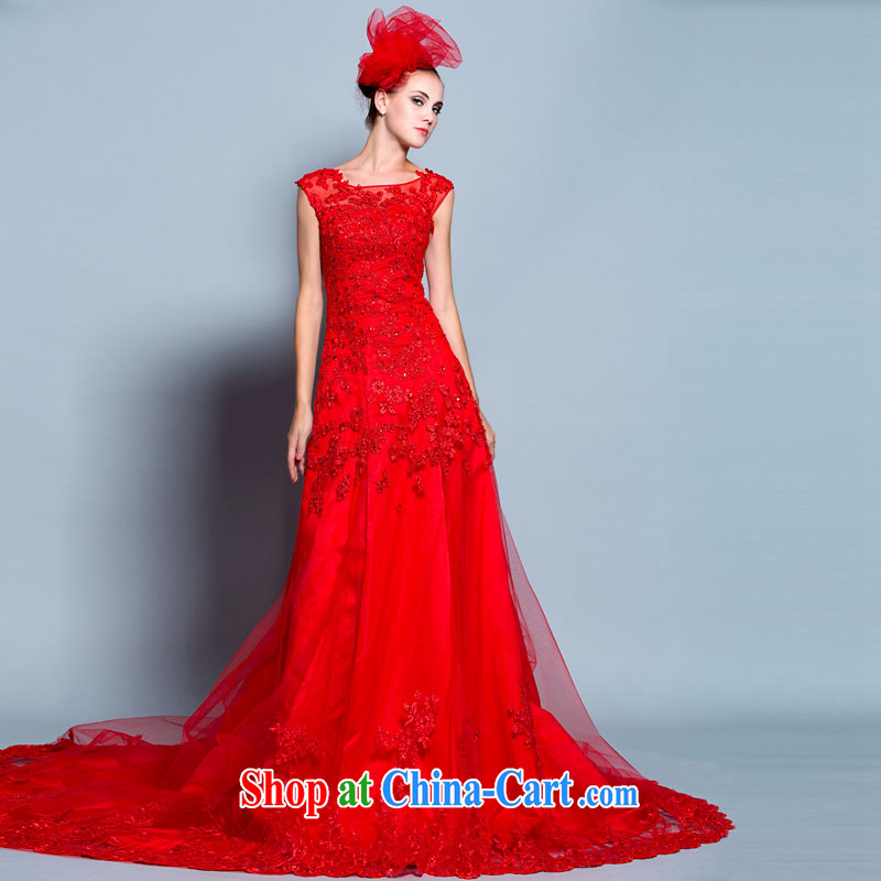 A yarn 2015 new bag shoulder red dress lace, drag and drop the bride toast dress 30150810 red S stock code 155_80 A