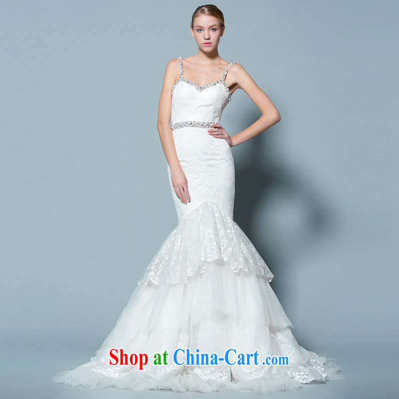 A lifetime by 2015 new, Japan, and South Korea at Merlion wedding 60 CM small trailing double-shoulder straps Deep V collar 30150735 white M stock code 160 /84 A