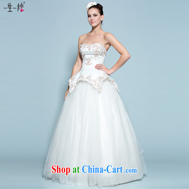 A yarn bridal wedding dresses 2015 new Korean high-waist with wedding erase chest graphics thin shaggy dress 30140730 white M stock code 160 /84 A