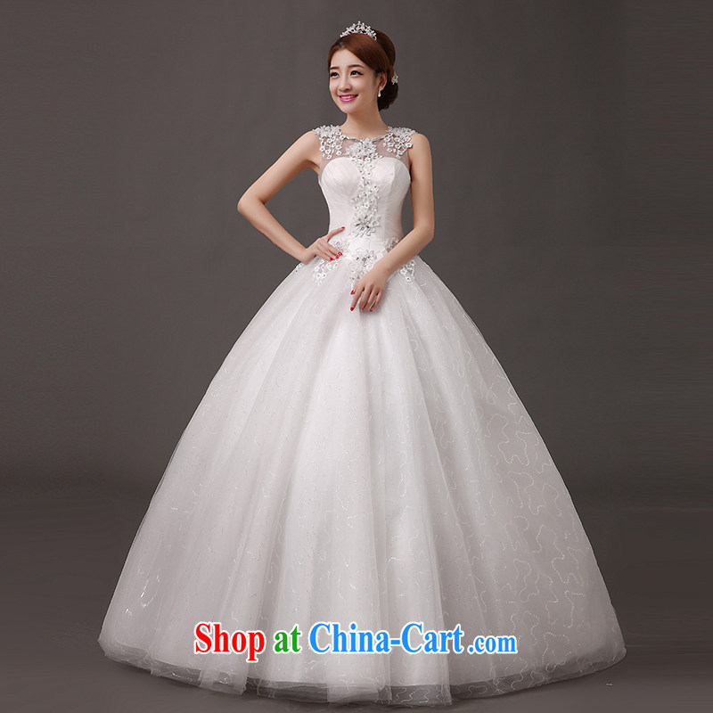 The china yarn 2015 wedding dresses new stylish Korean version the Field shoulder diamond lace graphics thin large code mm thick bride with straps wedding white. size does not accept return