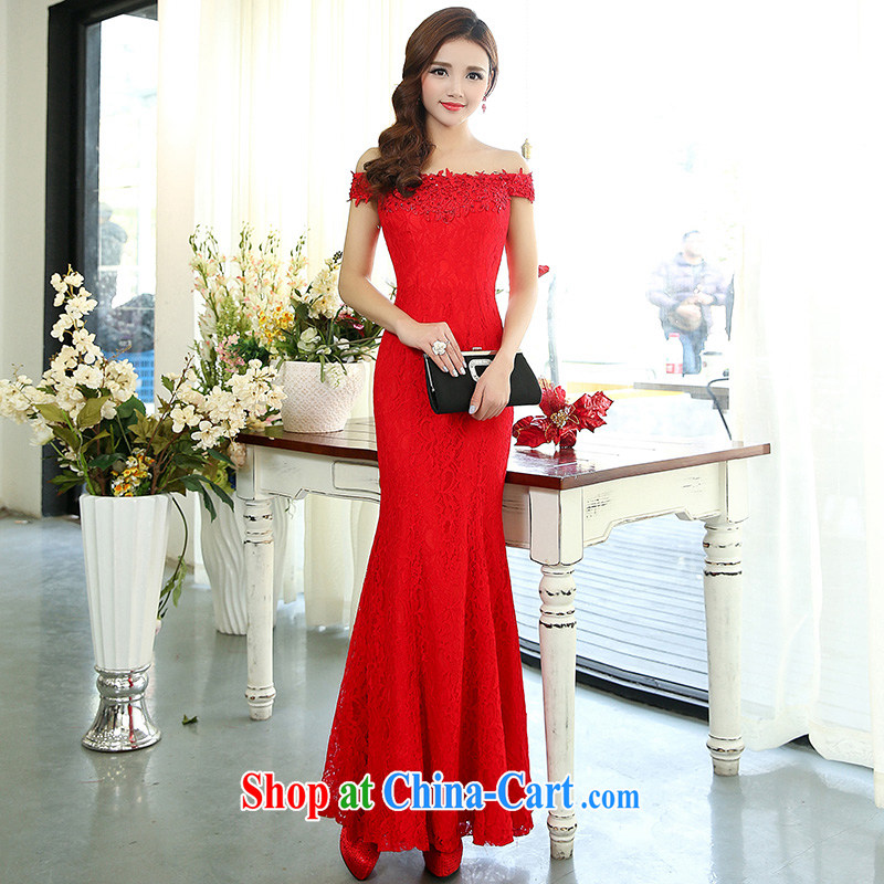 My dream wedding dresses new 2015 spring fashion a shoulder-tail crowsfoot bridal double-shoulder type Korean spring wedding red S