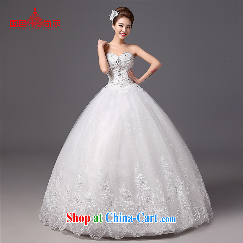 The color is still SA 2015 new parquet drill wedding summer stylish white graphics thin smears chest bridal wedding dresses white XXL