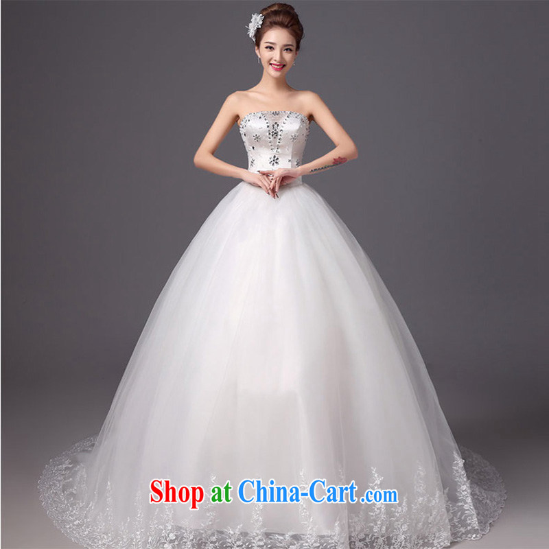 Summer 2015 New Products New Wedding Fashion erase chest tail bridal wedding dresses beauty graphics thin white strap white XXL