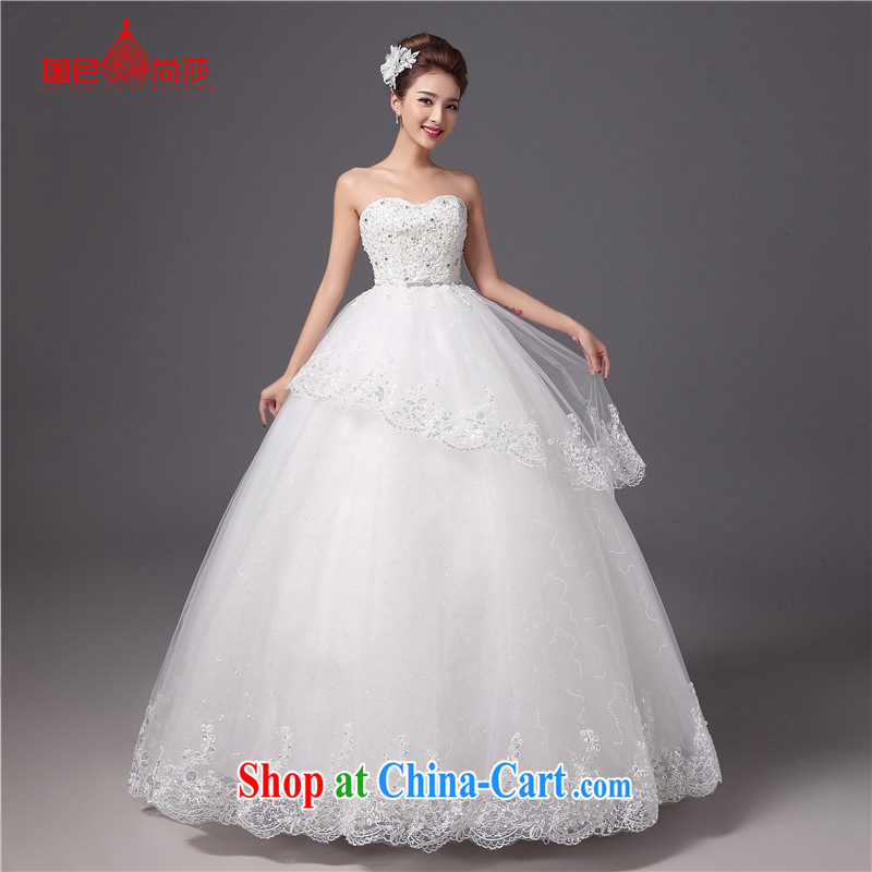 Summer bride's bare chest bridal suite 2015 new Korean Princess white with beauty graphics thin wedding dresses white XXL