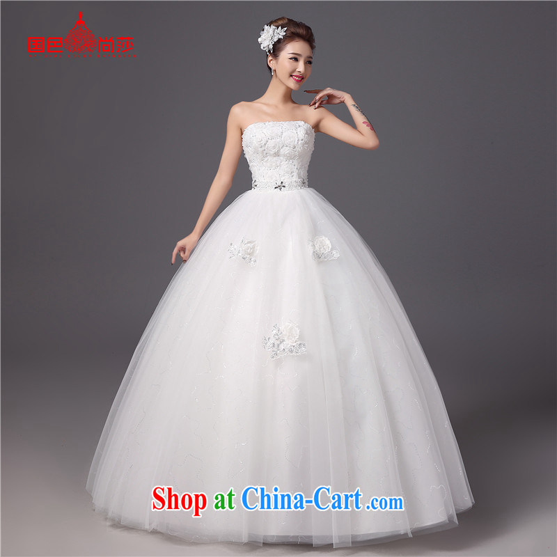 Summer wedding dresses 2015 New Beauty video thin alignment to erase chest strap white Princess bride wedding parquet drill white XXL