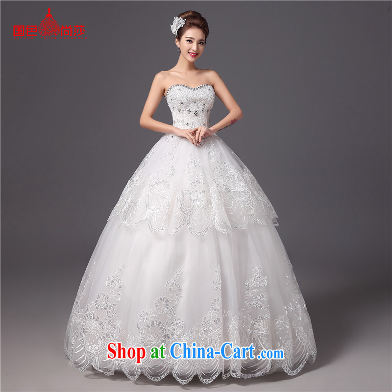 Summer wedding dresses 2015 new stylish Princess Mary Magdalene chest Korean white bridal wedding antique wedding dresses white XXL