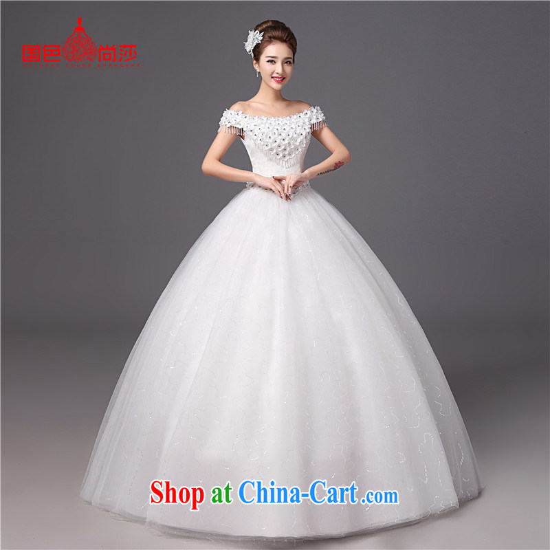 Bridal wedding dresses 2015 new stylish the Field shoulder Korean version with graphics thin larger straps bridal wedding white XXL
